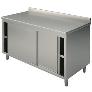 Tavolo armadiato neutro con porte battenti e alzatina, 1800x600 mm
