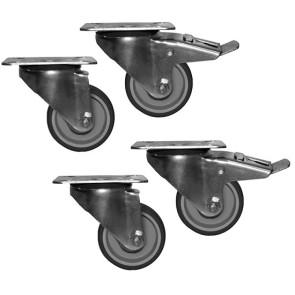 Kit ruote per tavoli di lavoro da 4 pezzi, 2 con freno