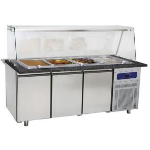 banco di preparazione riscaldato a 3 porte con struttura in vetro, 5x GN 1/1 h=100 mm