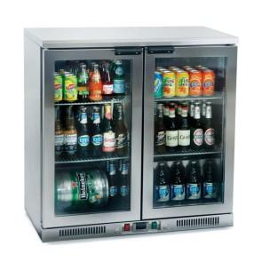Retrobanco bar inox con 2 porte vetro