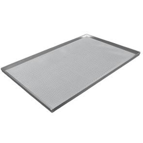 Teglia in alluminio non rivestita, 600x400 mm - 4 bordi 90°, perforata