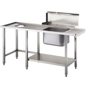 tavolo ingresso destro con vasca a sinistra e foro rifiuti, l=1500 mm