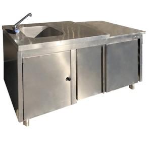 Tavolo armadiato con vasca a sinistra 40x40, con alzatina - USATO