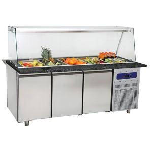 banco di preparazione refrigerato a 3 porte con struttura in vetro, 5x GN 1/1 h=150 mm