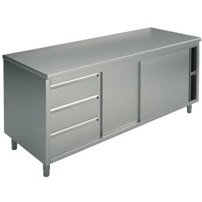 Tavolo armadiato neutro con cassettiera a sinistra, 1600x700 mm
