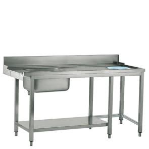 Tavolo ingresso sinistro con vasca a destra e foro rifiuti, larghezza=1800 mm - SHOWROOM