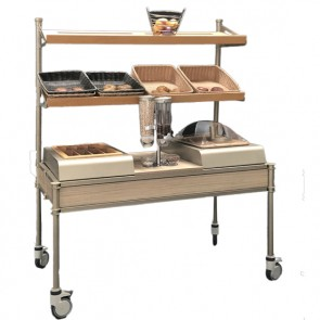 Carrello buffet su ruote con vano posate, distributore cereali, portapane e doppia mensola