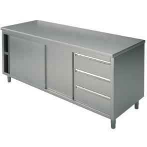 tavolo armadiato neutro con cassettiera a destra, senza alzatina, 1800x600 mm