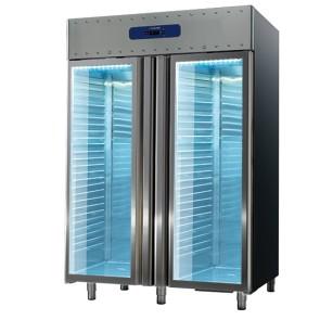 Congelatore da 1400 litri in inox con porte a vetro, GN 2/1, -10°/-25°C, 85 mm isolamento