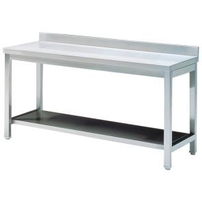 tavolo da lavoro con ripiano, con alzatina, 2000x700 mm