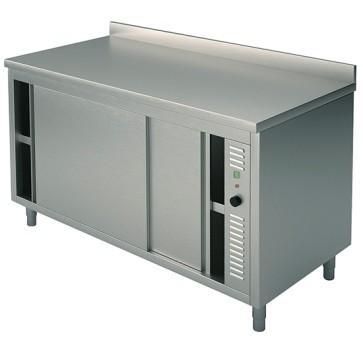 Tavolo armadiato caldo, con porte scorrevoli, alzatina posteriore e due alzatine laterali