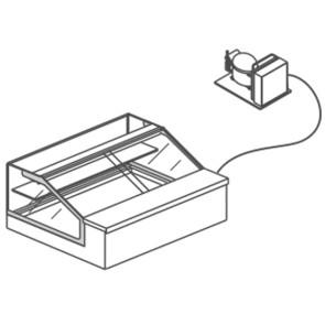 Vetrina espositore refrigerata ventilata,vetro dritto da banco,+ gruppo refrigerante incorporato